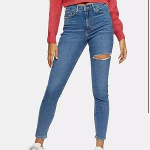 TOPSHOP Mid Blue Thigh Ripped Jamie Skinny Jeans